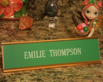 "Custom engraved 2"" x 8"" desk sign green/white letters - with gold anodized aluminum holder"