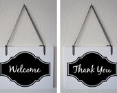 """Welcome Thank You Closed Double Sided Hanging Wood Sign 11""""x9"""" Decoration 1 double-sided Sign"""