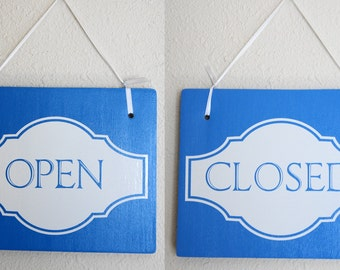 """Open Closed Sign Double Sided Hanging Wood Sign 11""""x9"""" Decoration 1 double-sided Sign Blue Board White Lettering"""