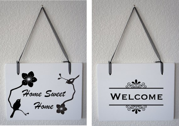 Home, Sweet Home and Welcome with Birds and Flowers Handmade Decoration One 2 Sided Hanging Sign Realtor Closing Gift