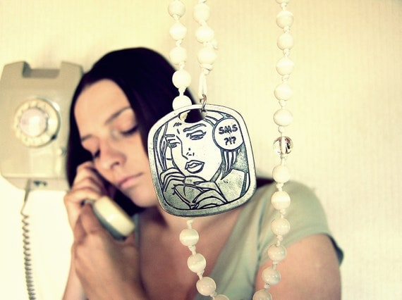 """Comics """"Waiting for SMS"""" rosary style necklace. OOAK, vintage, geekery inspired, handmade of glass cat eye beads"""