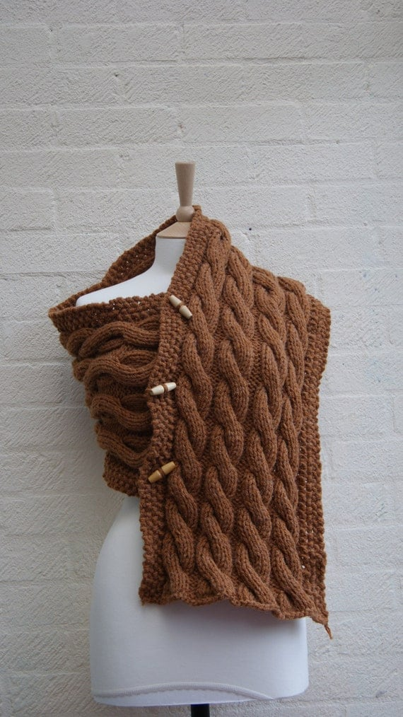 Knitted chunky cabled cowl, scarf, poncho wrap in rustic brown