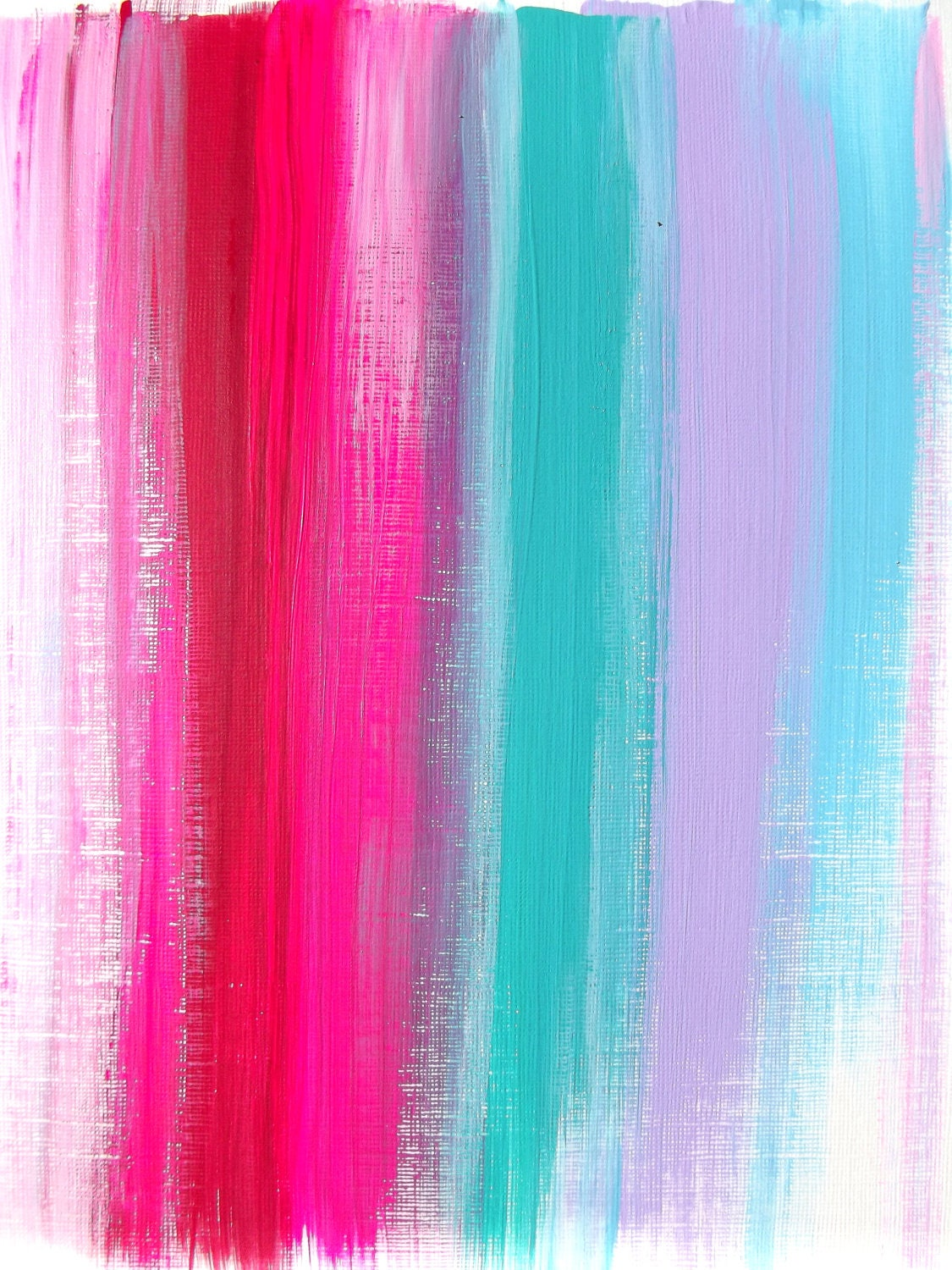 Abstract pink teal ruby original acrylic painting modern for Pastel teal paint