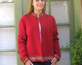 Vintage Boiled Wool Women's Beaded Blazer Jacket Talbots in Red