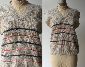 Vintage Knit Blouse / short sleeved 1980s loose knit top by Country Sophisticates / small