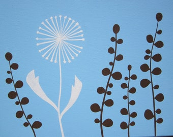 mid century modern acrylic painting blue brown and white botanical
