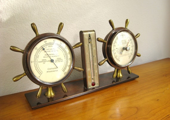 Vintage Swift and Anderson Brass Nautical Thermometer, Hygrometer and Barometer Instrument