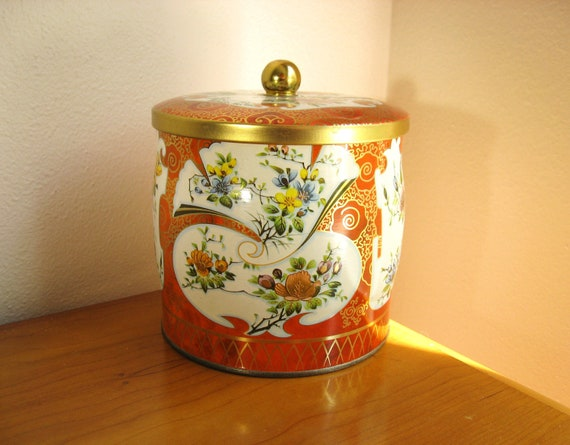 Vintage Daher English Cookie Tin Container, Cookie Jar, Made in England, Floral