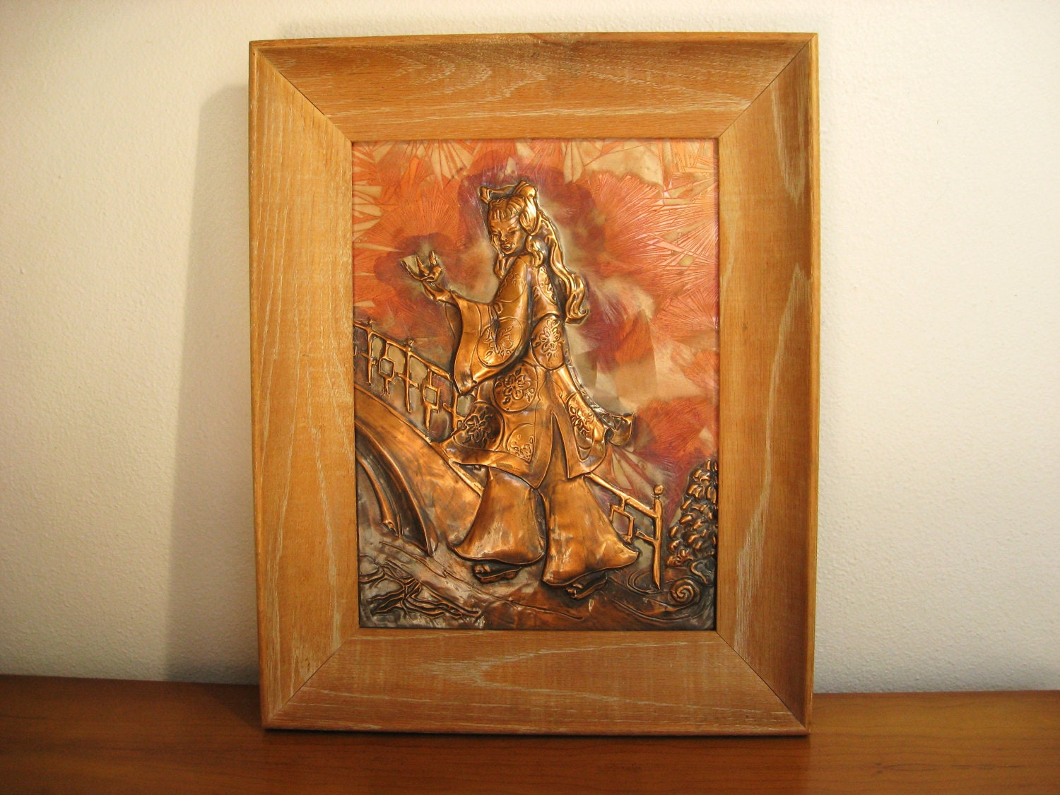 Vintage Asian Copper Relief Picture Embossed 3d Art Work