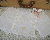 Mens Vintage Madeira Hand Embroidered Pocket Linen Handkerchiefs Monogrammed W KWL White Yellow Gold3
