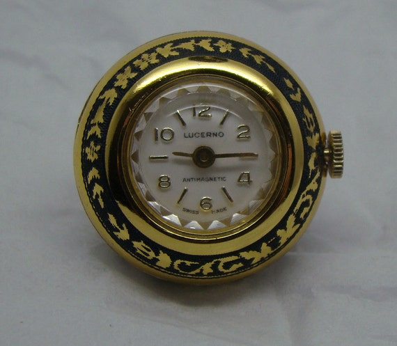 WORKING Vintage LUCERNO Swiss Made Antimagnetic  1/2 Ball Pendant Watch with Enamel Finish