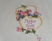 Cross stitched Wedding Gift
