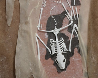 Bat Skeleton - 'Time Stands Still for Me' - Giclee Fine Art Reproduction of Paper Sculpture Collage