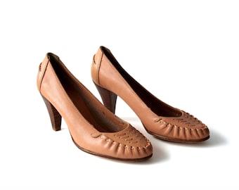 Vintage Heels Salmon Heels Leather Heels Vintage Wood Heels Size 5.5 Shoes