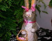 Paper mache rabbit with shopping basket