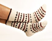 "MEN SOCKS ""Crazy Winter""  Hand knitted from natural white wool yarn.  Great for hiking."
