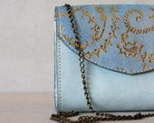 Evening purse  Golden patterned small leather bag  Blue leather handbag  Dalfia leather handbag, purse with chain
