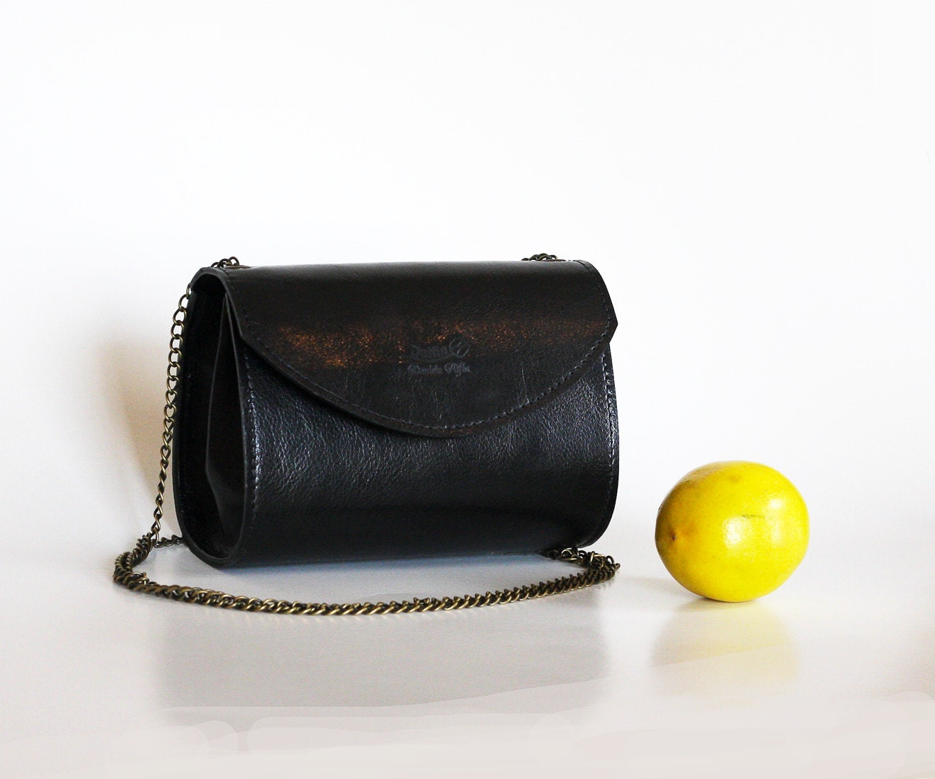Black leather handbag Black purse Evening purse Small black