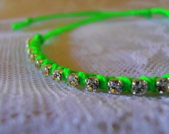 Neon friendship bracelet Neon Green Bracelet Rhinestone Bracelet