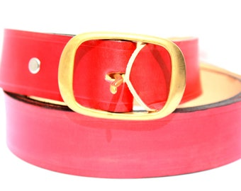 LEATHER BELT RED handmade natural vegetable tanned leather