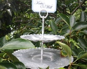 Vintage cupcake or wedding dessert tray - two tier with pedestal and sign holder- hammered aluminum