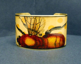 Vintage Print Bumble Honey Bee & Polka Dots 1 1/2 Inch Brass Cuff Bracelet