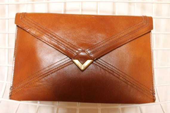 Leather Clutch with Geometric Design