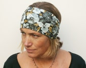 womens Liberty Jersey fabric  headband 2 styles in 1 neat tapered gathering at the front or back