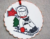 Christmas Tags, Retro Girl Sledding with Puppy and Tree (Red and Green) -Set of 6 Large Scallope Holiday Gift Tags/ Winter Tags