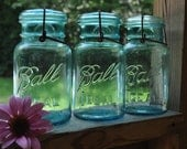 Lot of 3  Ball Mason Ideal Quart Fruit Canning Jars.  Perfect for collectors, weddings or crafts
