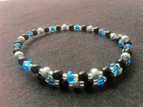 Blue and black, no clasp-memory wired, bracelet