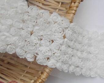 White rosette trim, 3D chiffon Rose trim, rosette lace trim, lace fabric
