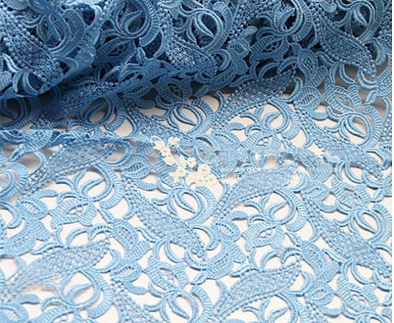Light Blue Lace Fabric Crocheted Lace Fabric Hollowed Out