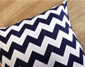 Navy Blue Chevron Throw Pillow Cushion Cover. 16 x 16 ONE COVER