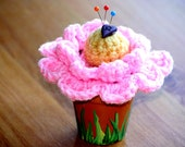 Crochet Flower Pin Cushion in Pot (with FREE SHIPPING)