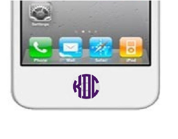 iphone home button settings set of 6 iphone home button monogram by decalinnovations 1388