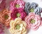 6 Crochet Flowers In  Lt Yellow, Lt Pink, Lt Peach, Pink, Gray, Azalea, Green  YH-080-01