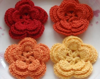 4 Crochet Flowers In Red,  Autumn Orange, Orange, Yellow YH-008