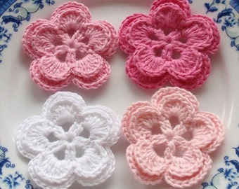 4 Crochet Flowers In White, Lt  Pink, Pink, Bubble gum Pink YH-022-01