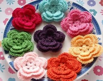 8 Crochet Flowers In Dark Pink, Green, Lt pink, Aqua, Yellow, Bubble gum Pink, Aqua, Plum YH-006-05