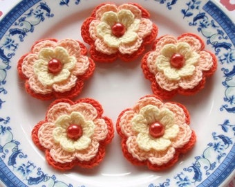 5 Crochet Flowers In Cream, Lt Peach, Orange  YH-031-05