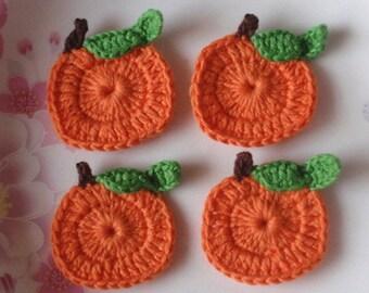 4  Crochet  Pumpkins In Orange, Green, Brown YH - 042-02