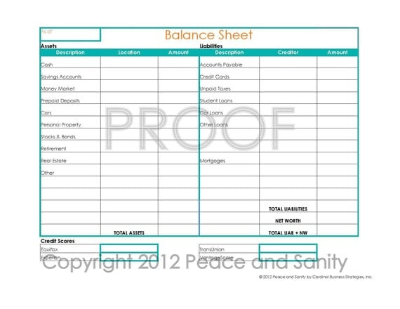 Items Similar To Personal Balance Sheet Pdf Printable On Etsy