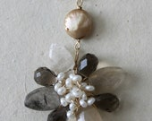 Rutilated & Smoky Quartz wrapped Flower Pendant, Quartz with Freshwater pearl Necklace, AD1301X
