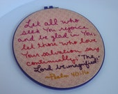 Hand Embroidered Hoop Art Scripture