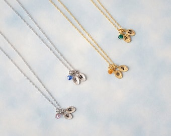 Tiny Leaf Neclace, Personalized Initial necklace, Birthstone Necklace -  Birthday Gift, Bridesmaid Gift
