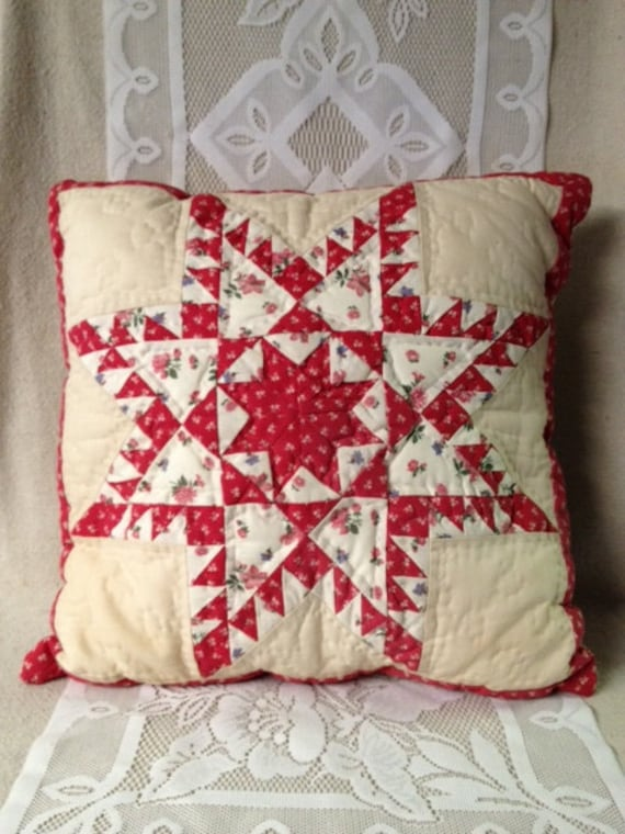 Vintage Red and White Quilted Star Pillow, Antique Handmade Star Quilt Pillow, Square