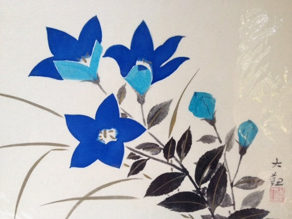 Vintage Japanese Flower Painting with Kanji, Blue Flowers Painting, Floral Wall Hanging