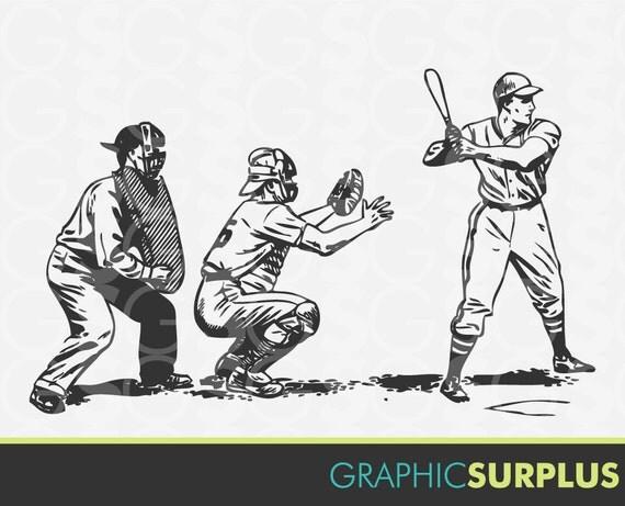 Vintage Baseball Clip Art - Busty Naked Milf