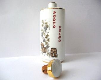 Old Port, Wine Bottle, Vintage Porcelain, Images of Grapes, Barrels, White